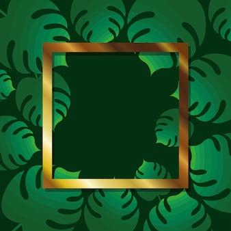 Frame with gold color over a leaves illustration design