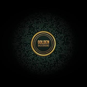 ゴールドのキラキラハーフトーンが点在するフレーム抽象的な円形レトロパターンゴールデンサークルドットグリーン