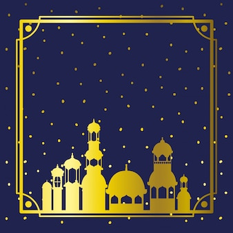 Frame with golden mosque building with stars sky