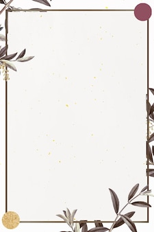 Рамка с зеленым узором оливковой ветви на бежевом фоне