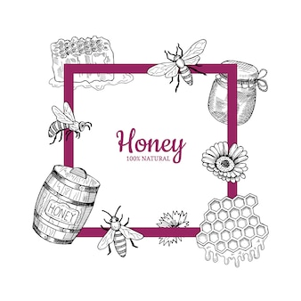 Frame with hand drawn honey elements flying around it and place for text illustration