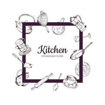 Frame with hand drawn kitchen utensils flying around it with place for text in center illustration
