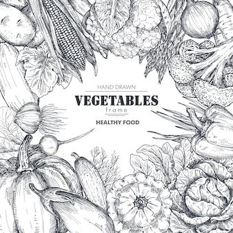 スケッチスタイルの手描きのベクトル農場野菜とフレーム正方形の境界線の構成