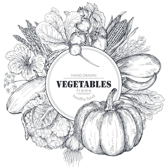 Frame with hand drawn vector farm vegetables in sketch style round border composition