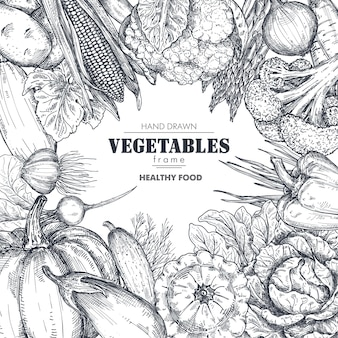 Frame with hand drawn vector farm vegetables in sketch style square border composition