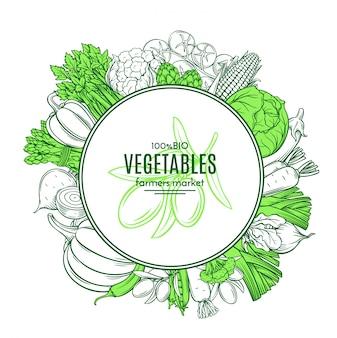 手描きの野菜とフレーム