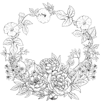 Frame with hand drawn wreath of peony flowers and plants on white background