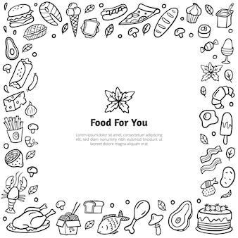 手描きの食べ物とフレーム