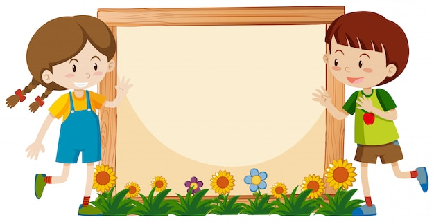 Frame  with happy boy and girl in garden