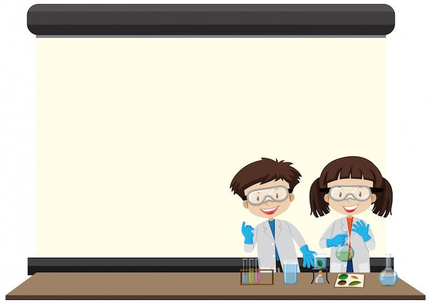 Frame  with happy kids in lab
