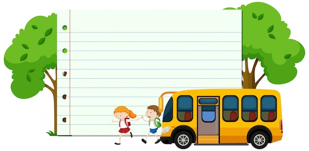 Frame  with happy kids and school bus