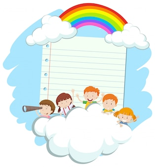Frame  with happy kids in sky