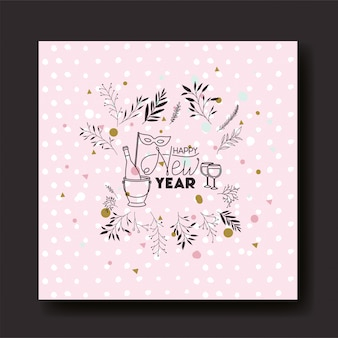 Frame with happy new year lettering and wreath crown