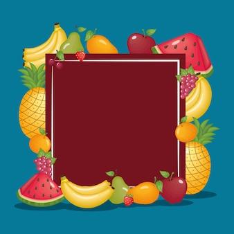 健康的な有機フルーツのアイコンが設定されたフレーム
