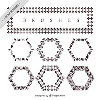 Frame with hexagonal ornaments in vintage style