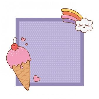 Frame with ice cream and rainbow