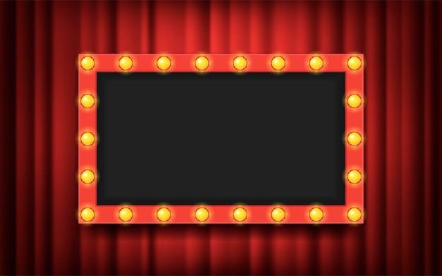 Рамка с лампочками на фоне красных театральных занавесов. векторная иллюстрация плоский. место для текста, рекламы. пустой шаблон.