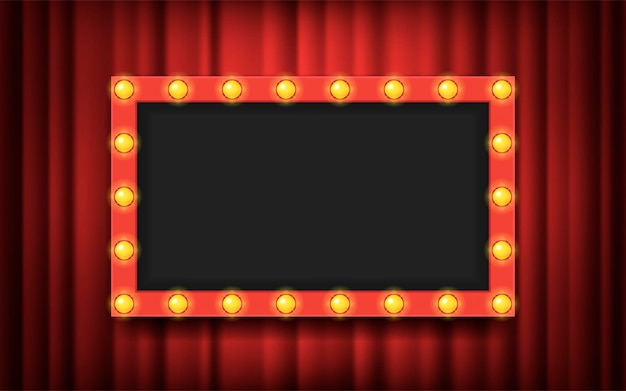 Frame with light bulbs on red theater curtains background. vector flat illustration. space for text, advertisement. blank template.