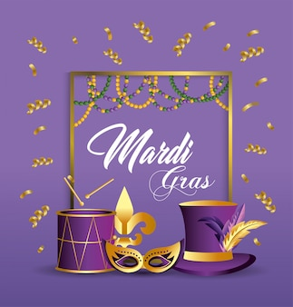 Frame with mask and drum decoration to merdi gras