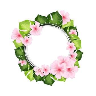 몬스 테라 잎과 꽃으로 프레임