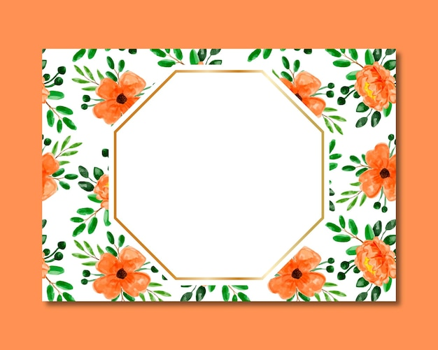 Frame with orange floral watercolor seamless pattern