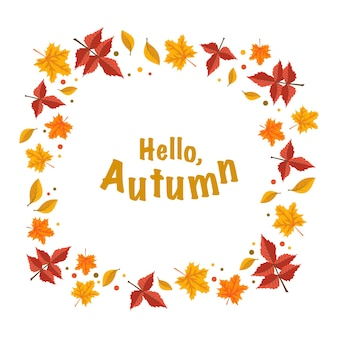 Frame with orange maple and rowan leaves and the words hello autumn bright fall wreath with text