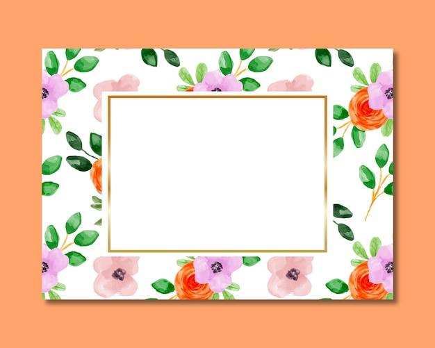 Рамка с оранжевой розовой цветочной акварелью бесшовные модели