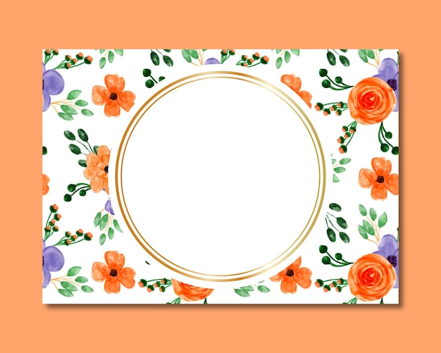 Frame with orange purple floral watercolor seamless pattern