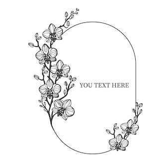 흰색 격리 된 배경에 난초와 프레임 꽃과 화환 웨딩 프레임