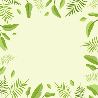 Frame with palm leaves blank space for special offer discount and sale