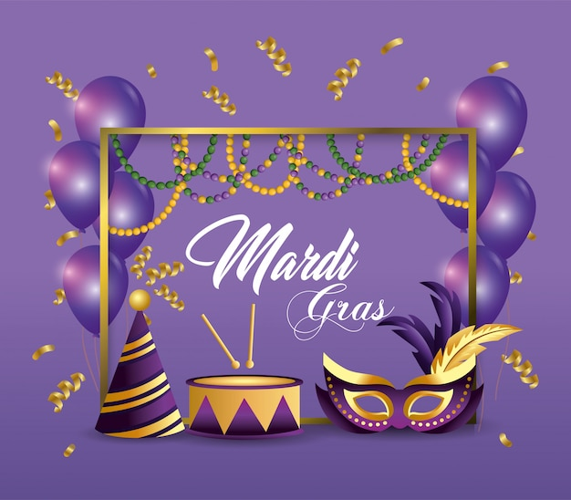 Frame with party hat and drum decoration to event