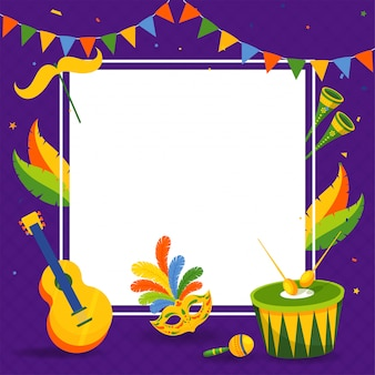 Frame with party mask with music instruments.