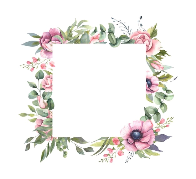 Frame  with pink flower bouquets, leaves.