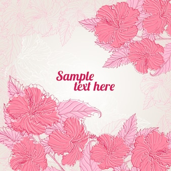 Рамка с розовым гибискусом с местом для текста
