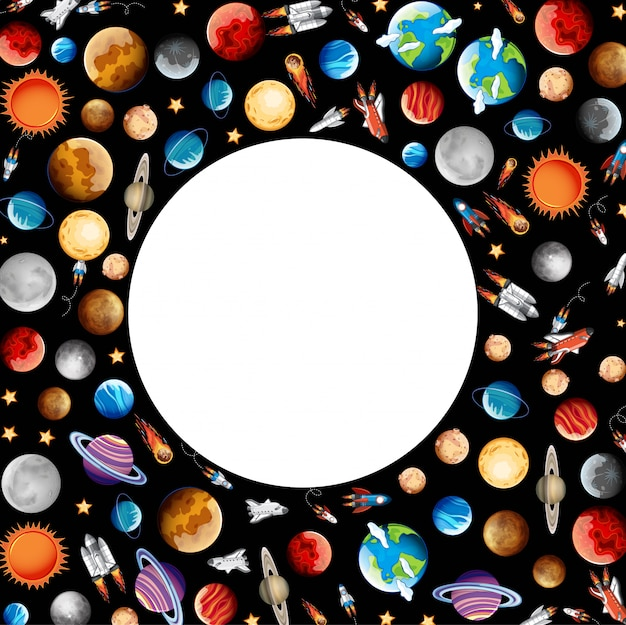 Frame with planets in space