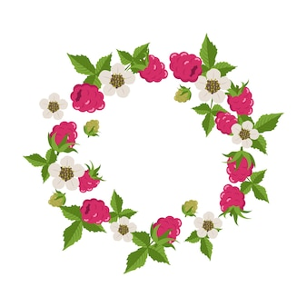 Frame with raspberries, leaves and white flowers on white