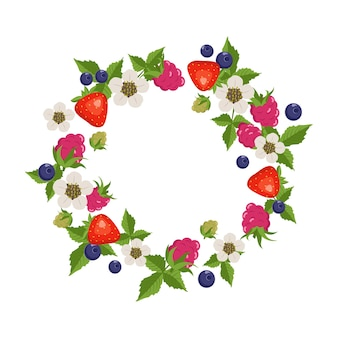 Frame with raspberries, strawberries, blueberries, leaves and flowers on white
