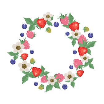 Frame with raspberries strawberries blueberries leaves and flowers.