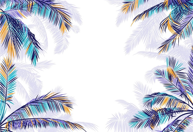 Frame with realistic palm leaves and copy space on white background.