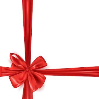 Рамка с реалистичным красным бантом из ленты, подарочная упаковка