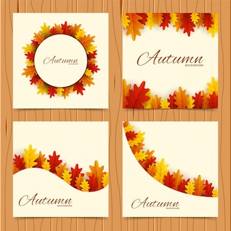 Frame with red, orange and yellow autumn leaves