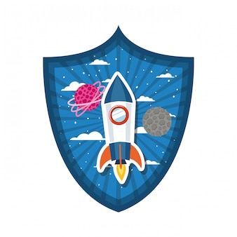 Frame with rocket flying and planets of the solar system
