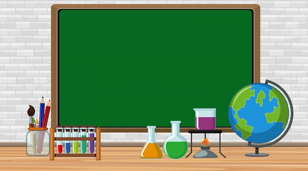 Frame with science equipments in the room