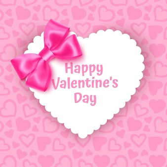Frame with shape of heart on festive pink background pattern with hearts on pink pastel background