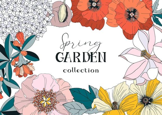 Рамка с весенними и летними цветами