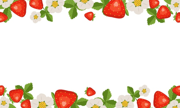 Frame with strawberries, leaves and flowers on white