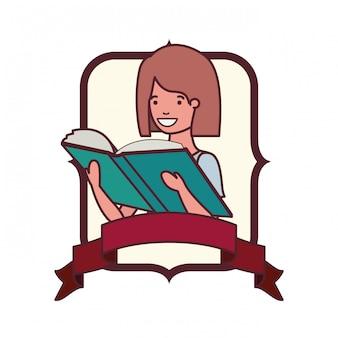 학생 소녀와 책을 읽고 프레임