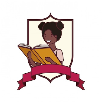 Frame with student girl and reading book