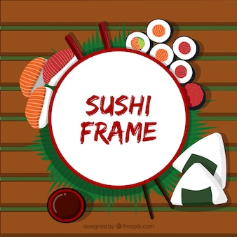 Frame with sushi food