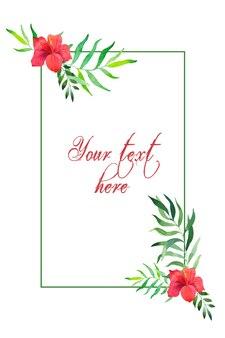 Рамка с тропическими листьями и розовым цветком